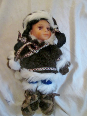 "13"" Alaskan Friends Arctic Circle Plush Eskimo Native ALASKA Girl Doll Toy Tribal"