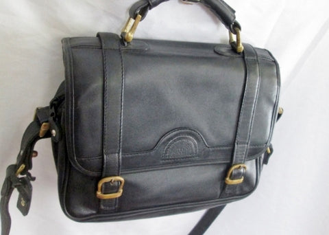LAND COLUMBIA Leather Handbag Shoulder Bag Satchel Briefcase BLACK M OLDE ENGLISH
