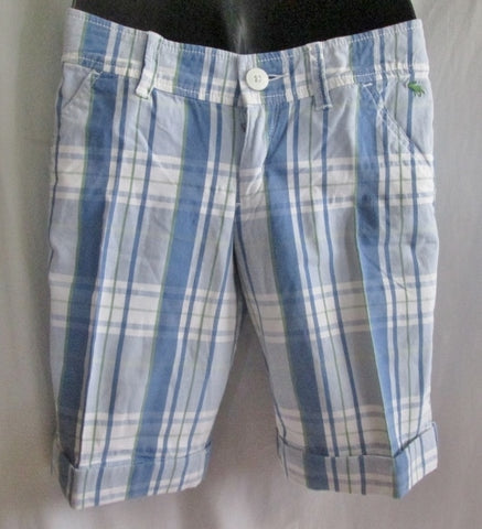 Womens ABERCROMBIE & FITCH Casual Cotton SHORTS MADRAS PLAID 4 BLUE GREEN