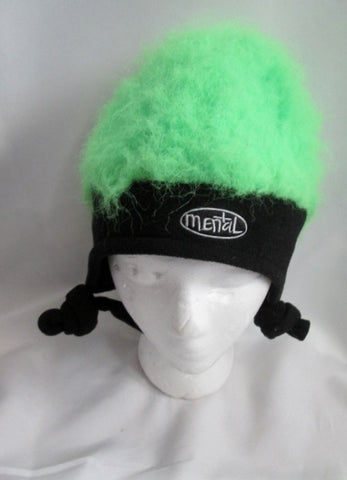 Adult MENTAL GEAR FUZZY HAT FLEECE cap beanie OS Ski Snow NEON GREEN FLUORESCENT