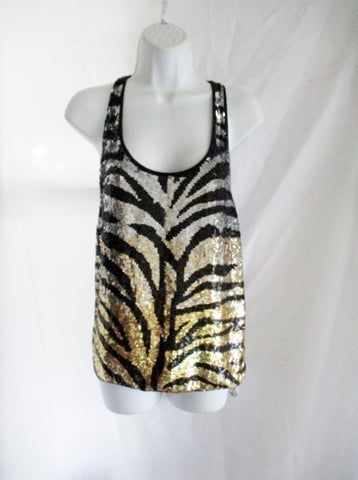 NEW NWT ASHISH Sequin TIGER RACER BACK VEST Tank Top S Silver Gold Black