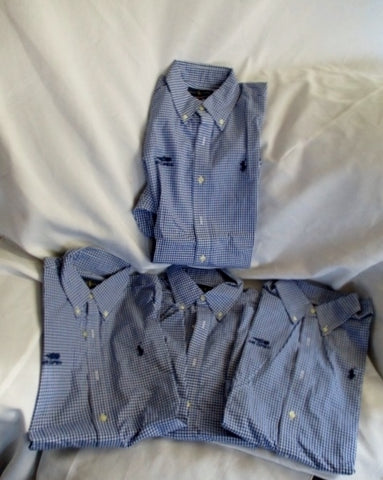 Set Lot 4 Womens RALPH LAUREN PLAID Button Up Shirt 6 Blue White TENNIS Non-Iron