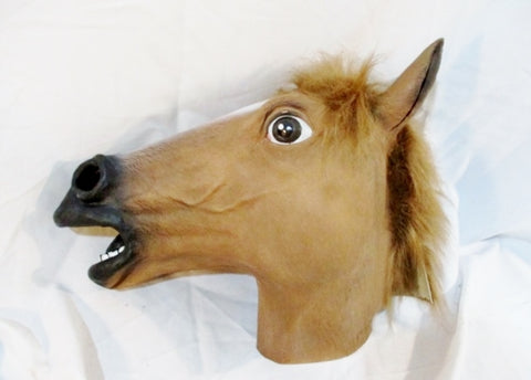 HORSE HEAD MASK HALLOWEEN Party Disguise Cosplay Latex Animal Movie Equestrian