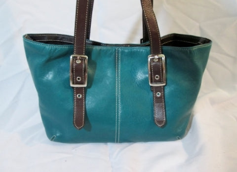 TIGNANELLO Leather Satchel TOTE Bag Shoulder Bag Carryall SEAFOAM BLUE TEAL