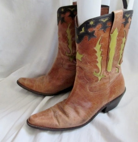 Womens MATISSE Cut-Out Western Cowboy Buckaroo Leather BOOTS 9.5 BROWN Rodeo