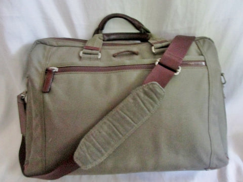 CORDURA DUPONT shoulder bag attache work briefcase laptop carrier KHAKI leather canvas