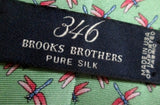 Mens 346 Brooks Brothers DRAGONFLY Insect Bug 100% Silk Tie USA NECK TIE GREEN