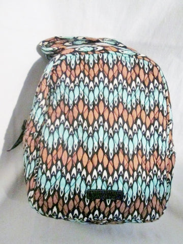 VERA BRADLEY BROWN BLUE Vegan Quilted Clutch Lunch Bag Cooler SIERRA STREAM