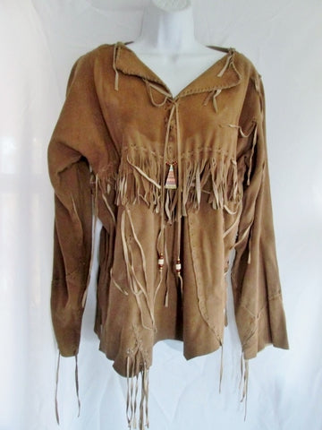 Vintage Womens ERDA MAINE Suede FRINGE Hippie Jacket Coat Dress BROWN S Boho