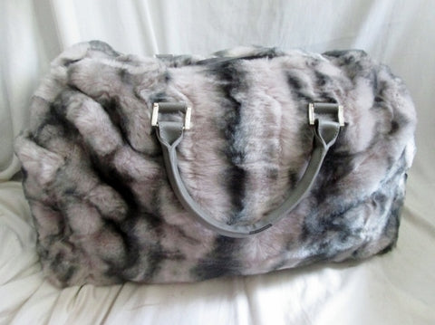 NEW DENNIS BASSO FAUX FUR Vegan Duffle Bag Overnighter GRAY Travel TIGER MILLS