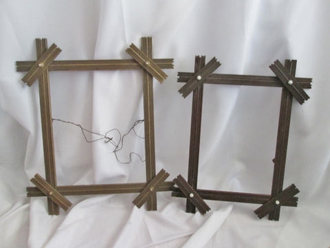 Vintage Antique Set 1800s Carved VICTORIAN Wood Picture Frame Art GILT BROWN Mirror