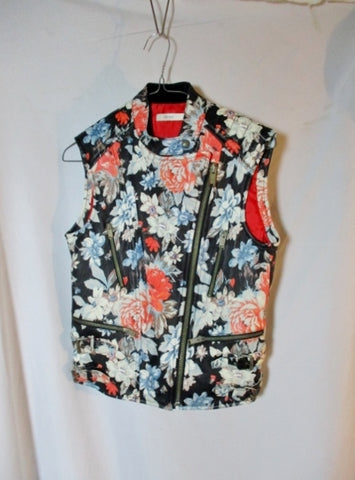 NWT New CELINE LEATHER PEONY Moto vest jacket coat 40 FLORAL Sleeveless