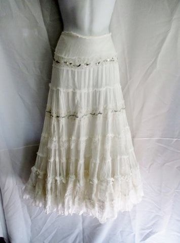 WOMENS ANGEL NINA Peasant Lace Ruffle Maxi Skirt WHITE S / T1 Sequin Hippy Festival