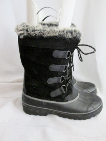 Womens KHOMBU NORTH STAR Mukluk Sherpa Boots Suede Leather BLACK 11 Faux Fur
