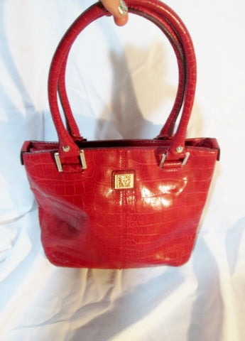 ANNE KLEIN Leather Croc Signature Shoulder Bag Tote Purse Bucket RED LION