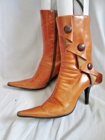 Womens JUBILEE NEW YORK LEATHER Pointy Toe High Heel Booties Boot 8.5 BROWN Steampunk Ankle
