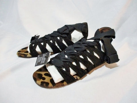 NEW ALAIA PARIS LEOPARD Flat Sandal BLACK Gladiator Shoe 36.5 6 NWT Womens