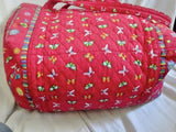 AMERICANA BY SHARIF Vegan Quilted Bag Bowler Duffle Overnighter RED BUTTERFLY