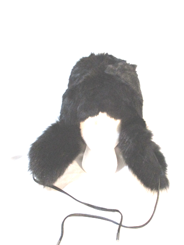 EUGENIA KIM Aviator Fur Hat Cap Trooper Flap Russian Cossack Trapper BLACK Cosplay