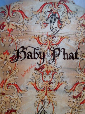 Teen Girls BABY PHAT GIRLZ FLORAL Rhinestone Denim Jean Jacket Coat L Boho TAN