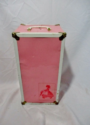 Vintage PINK Metal DOLL CLOTHING Steamer Trunk Chest Closet Wardrobe