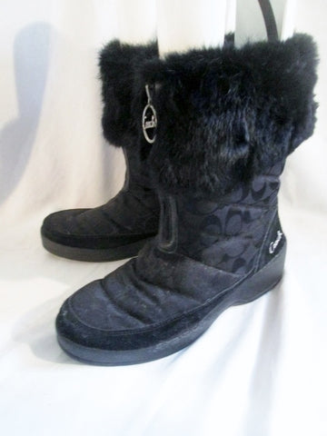 Womens COACH FAITH RABBIT FUR Boots BLACK 9 Signature C Booties Shoes