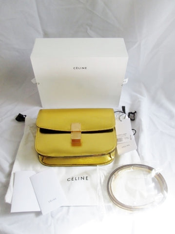 NEW CELINE MEDIUM FLAP BAG Fall 2013 CALFSKIN GOLD LEATHER Bag Purse
