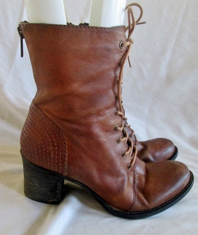 Womens STEVE MADDEN LEATHER BOOT GRANNY Victorian Steampunk BROWN 8 GLACER