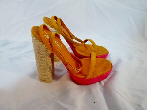 NEW YVES SAINT LAURENT Espadrille Sandal Pump Shoe 36.5 6 YSL PINK BEIGE ORANGE Womens