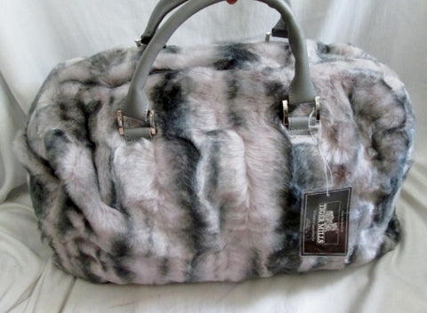 679e66524f10 NEW DENNIS BASSO FAUX FUR Vegan Duffle Bag Overnighter GRAY Travel TIGER  MILLS ...