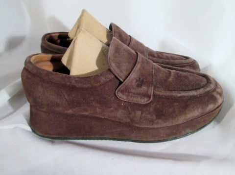 Womens STEPHAN KELIAN FRANCE Suede Leather Platform Loafer Shoe 8.5 BROWN
