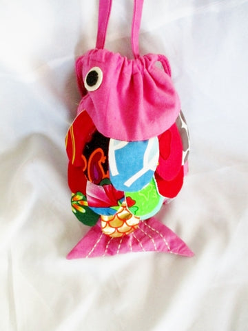 FISH Festival Patchwork Shoulder Bag PISCES MERMAID Pink Hobo Purse Cute