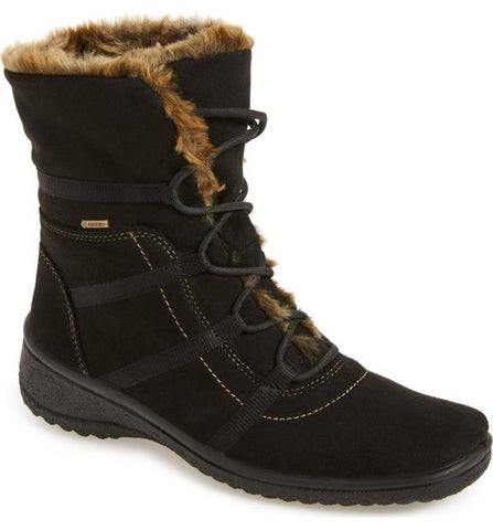 NEW Womens ARA MAGALY GORE-TEX Mukluk Sherpa Suede BOOT 6.5 BLACK Fur Lined Winter