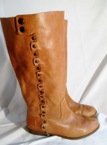 Womens NINE WEST VINTAGE FIDDLE Leather Stud MOTO Boots BROWN 11 ROCKER