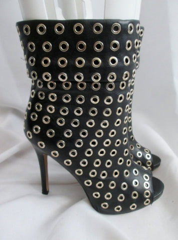 Womens ALDO BLONDEAU Leather Stiletto Boots Eyelet Peep Toe BLACK 7 Sexy Punk Industrial
