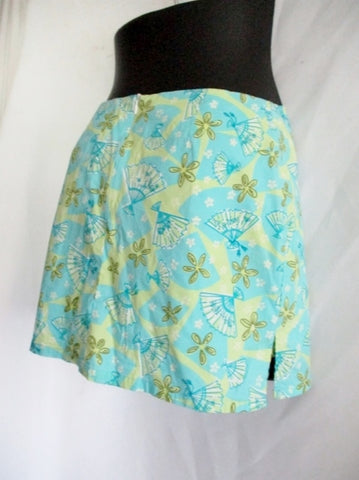 LILLY PULITZER FAN FLORAL SKORT Shorts 4 GREEN BLUE Hippy Boho Preppy Womens