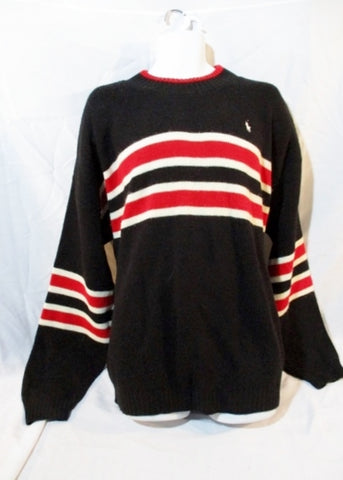 Mens POLO RALPH LAUREN USA Knit Ski Sweater BLACK XL RED WHITE Stripe