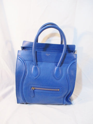 CELINE PARIS MINI LUGGAGE ITALY Grained Leather ROYAL BLUE Tote Bag