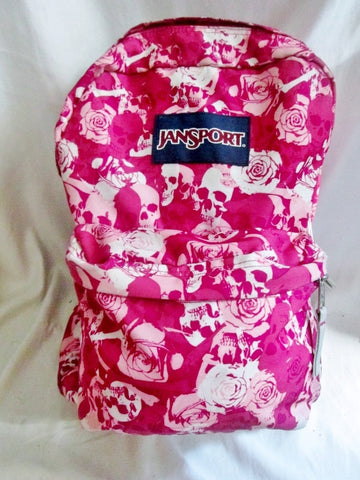 JANSPORT Canvas BACKPACK Shoulder Rucksack Travel Book BAG PINK SKULL ROSE School