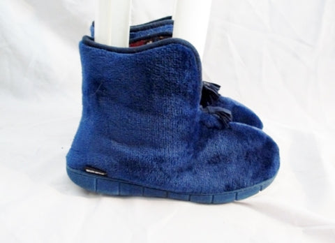 Womens MUK LUKS MUKLUKS Slipper Boot BLUE Booties XL 11-12 FLEECE