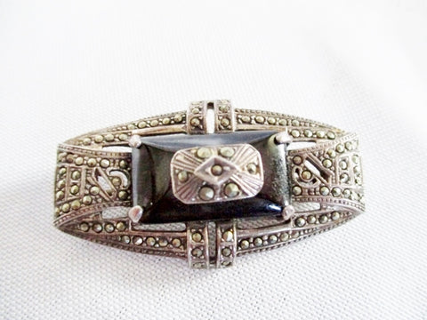 SIGNED 925 STERLING SILVER BROOCH PIN MARCASITE ONYX BLACK 17g Noveau Deco Jewelry