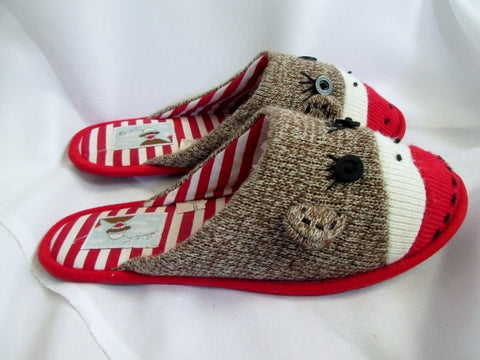 Womens NICK & NORA SOCK MONKEY Slippers Shoe 8-10.5 Slides BROWN RED