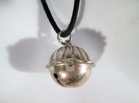 "26"" MMA Signed STERLING SILVER BELL Pendant NECKLACE Charm Delicate Ringing Music"