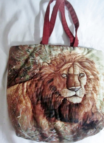 HANDMADE LION CAT mini vegan satchel TOTE  book bag purse Jungle BROWN S