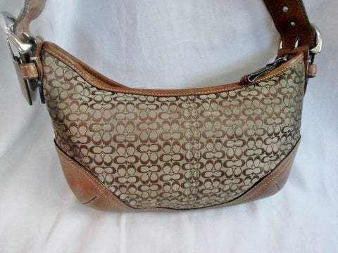 COACH 6351 SOHO Jacquard Hobo Handbag Satchel Canvas COGNAC BROWN Leather