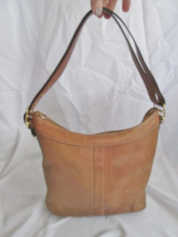 COACH 9325 Signature LEATHER hobo shoulder bag sling COGNAC BROWN