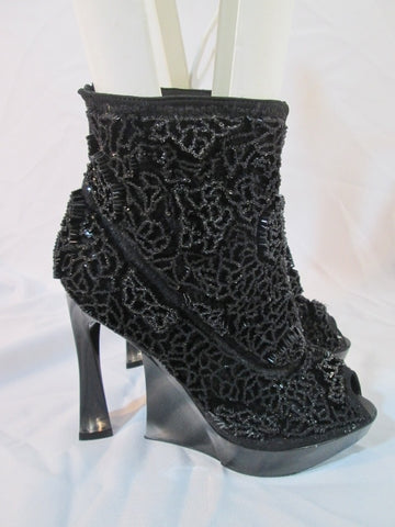 JIL JILL SANDER Textured Beaded PLATFORM WEDGE Heel Shoe Bootie 36  6 BLACK Womens