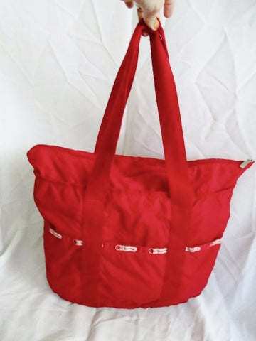 LeSPORTSAC Duffel Travel Bag Tote Shoulder Travel Purse RED