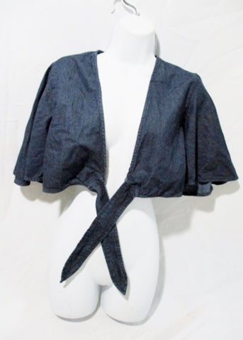 WOMENS FREE PEOPLE Cropped Denim Wrap Jacket Coat BLUE 8 Ruffle Sleeve
