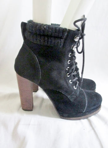 Womens H by HALSTON Suede LEATHER High Heel Platform BOOT Booties BLACK 8